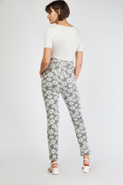 Flower Embossed Skinny Fit Trousers