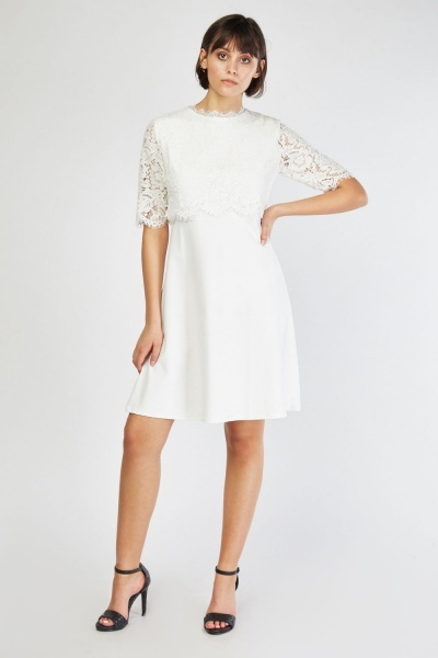 Lace Overlay Flared Dress - Just £5 0e3d44a4c
