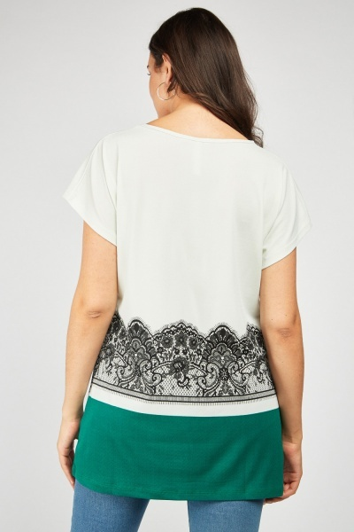 Lace Print Slouchy Top