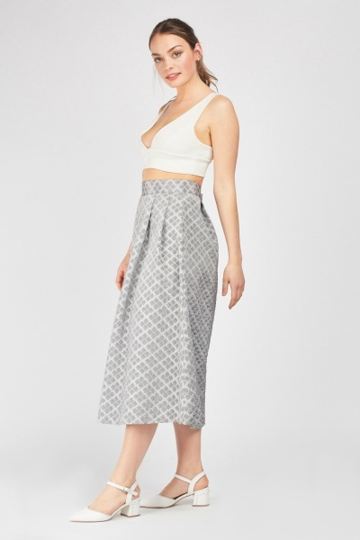 Metallic Box Pleated Midi Skirt