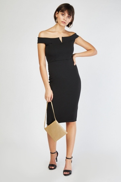 0e6eb2ad3f Off Shoulder Midi Bardot Dress - Black - Just £5