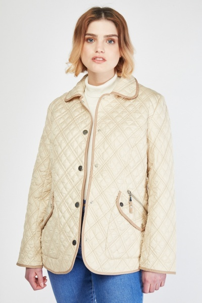 Diamond Beige Quilted Jacket
