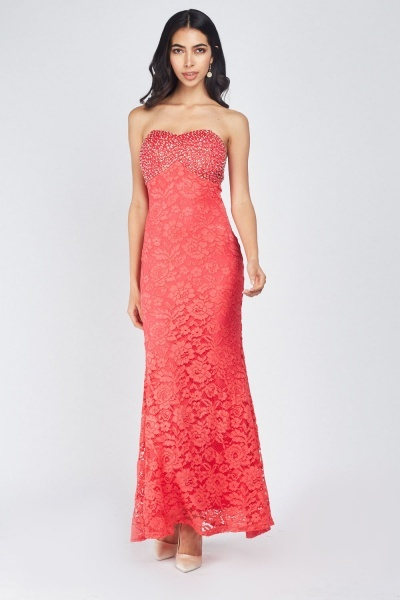 Embellished Sweetheart Lace Maxi Dress