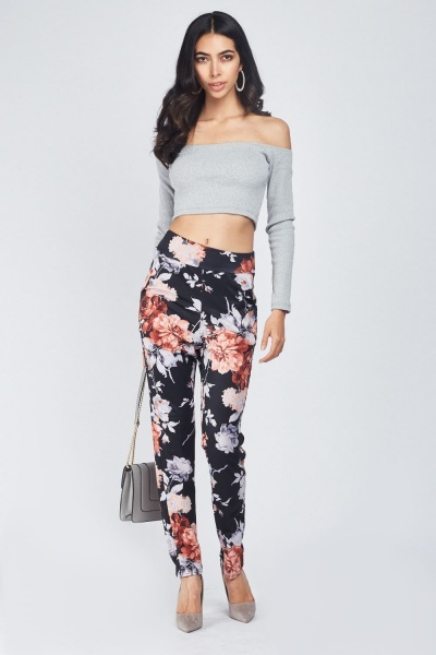 Printed Skinny Fit Trousers