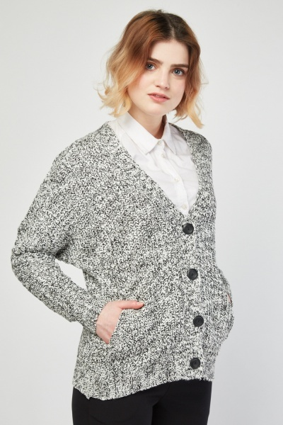 Speckled Button Front Knit Cardigan