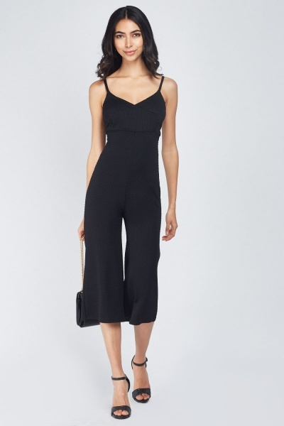 Textured Culotte Wrap Jumpsuit