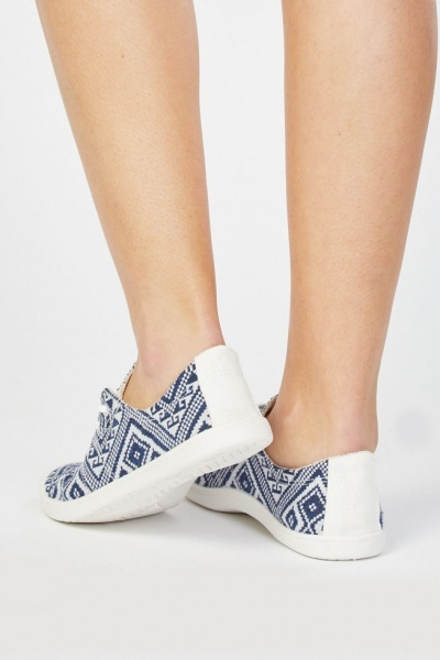 Aztec Patterned Low Top Sneakers