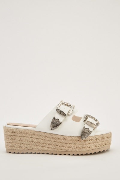 Buckle Strap Faux Leather Sandals