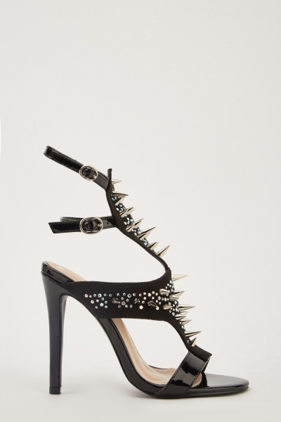 Encrusted Spikes Heeled Shoes