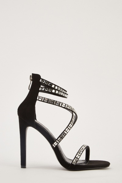 Encrusted Straps Heeled Shoes