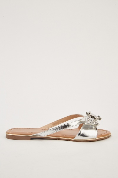 Studded Metallic Bow Flip Flops