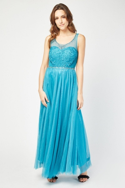 Encrusted Crochet Bodice Maxi Dress