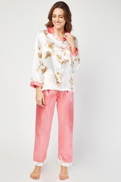 86274fafb1 Flower Printed Sateen Pyjama Set - Pink - Just £5