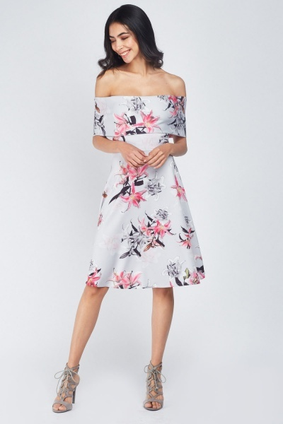 80198f3dd7 Lily Flower Print Swing Dress - Light Grey Multi - Just £5