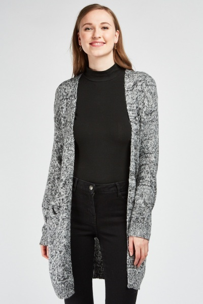 Long Line Speckled Knit Cardigan