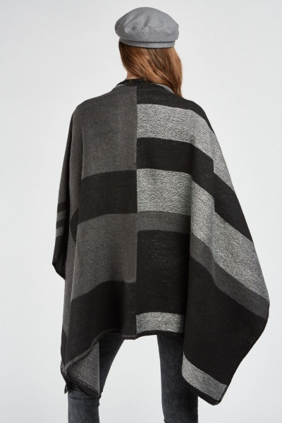Metalic Colour Block Poncho