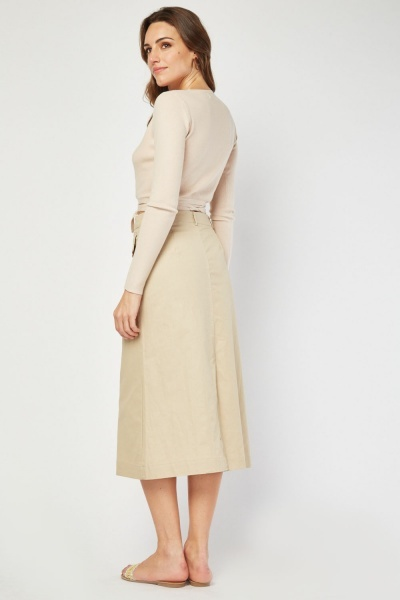 Pocket Front Midi Skirt