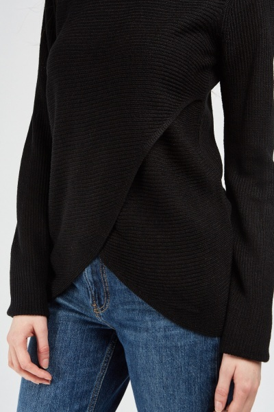 Wrap Front Soft Knit Jumper