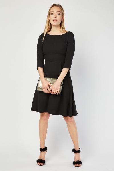 645ab2b4b3 3 4 Sleeve Pleated Dress - Black - Just £5