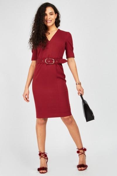 943a715ec0 Belted V-Neck Midi Dress - Wine - Just £5