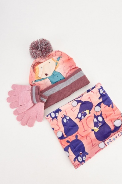 Cat Contrasted Print Hat, Snood And Gloves Set