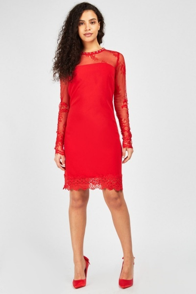 0ce66bcccb Crochet Hem Mini Shift Dress - Red or Black - Just £5
