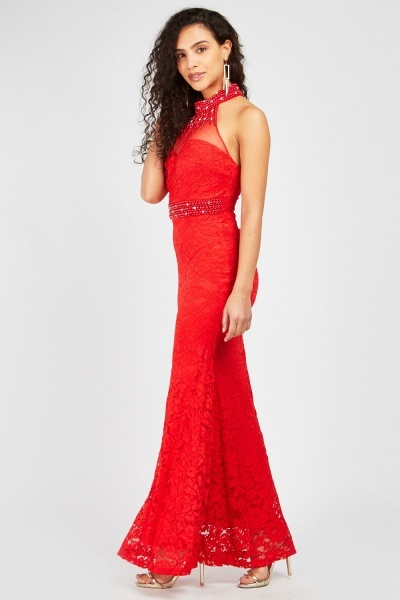Embellished Lace Overlay Maxi Dress