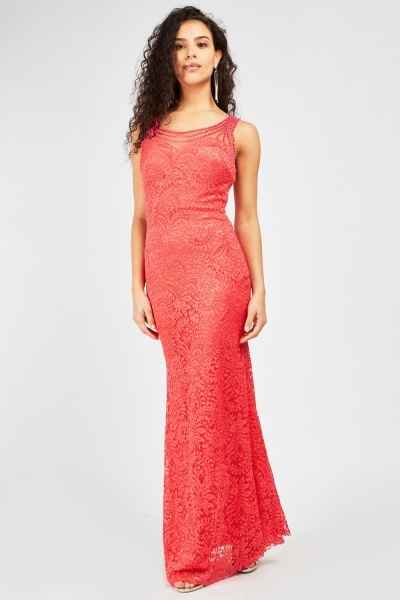 Faux Pearl Trim Sweetheart Maxi Dress