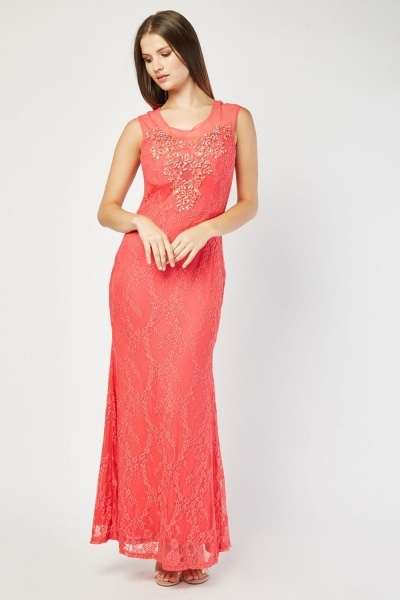 Illusion Neck Line Embellished Maxi Dress