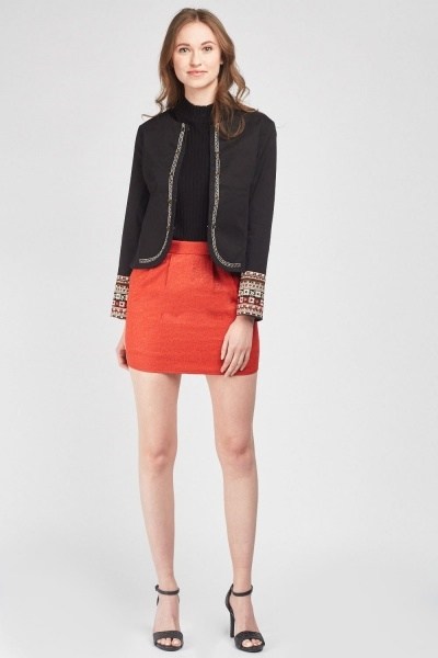 Jacquard Ribbon Trim Blazer