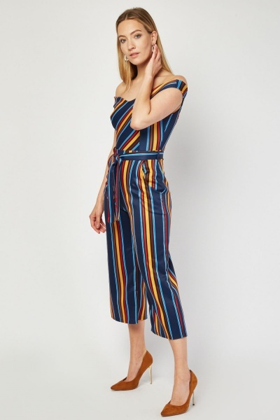 Multi-Colour Stripe Culotte Jumpsuit
