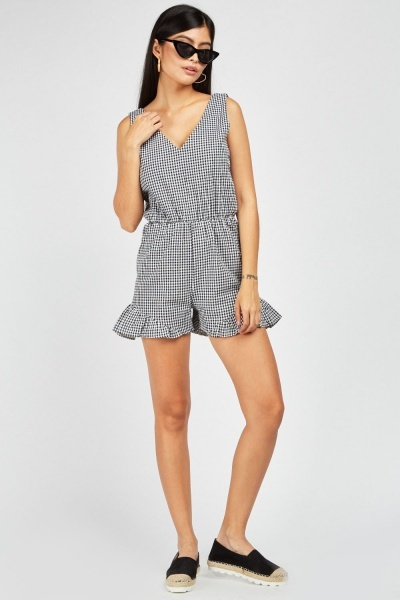 Open Tie Up Back Gingham Playsuit