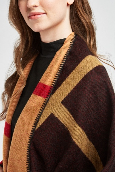 Overlapped Colour-Block Poncho