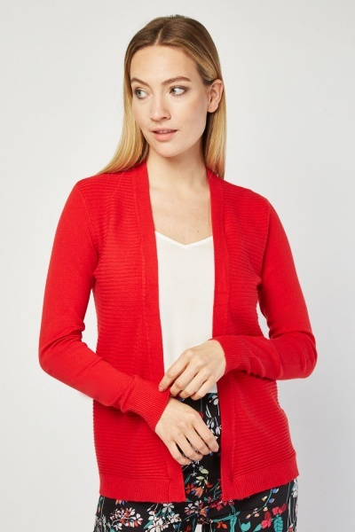 Ribbed Open Front Knitted Cardigan