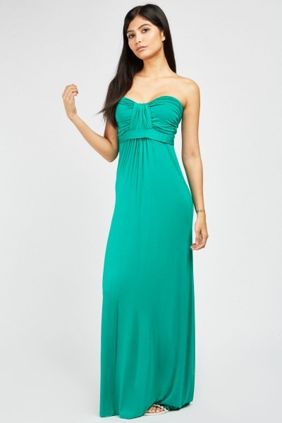 Ruched Bandeau Maxi Dress
