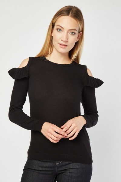 Ruffle Cold Shoulder Knitted Top