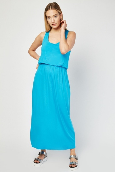Scoop Neck Basic Maxi Dress