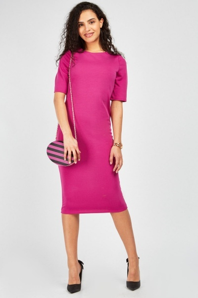 Short Sleeve Magenta Midi Dress