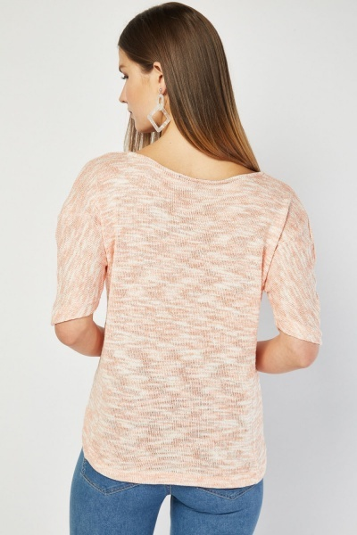Short Sleeve Speckled Knit Top