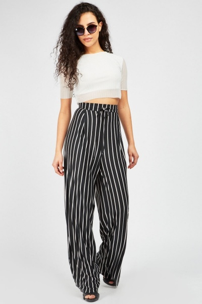 Striped Wide Leg Trousers