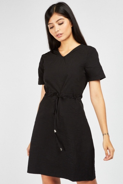 Tie Up Drawstring Mini Dress