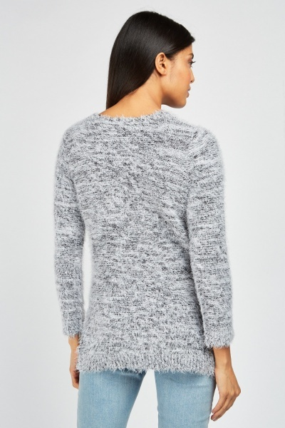 Two-Tone Eyelash Knit Jumper