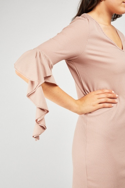 V-Neck Ruffle Sleeve Shift Dress