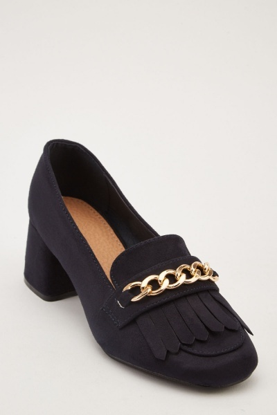 Chain Trim Tassel Heeled Loafers