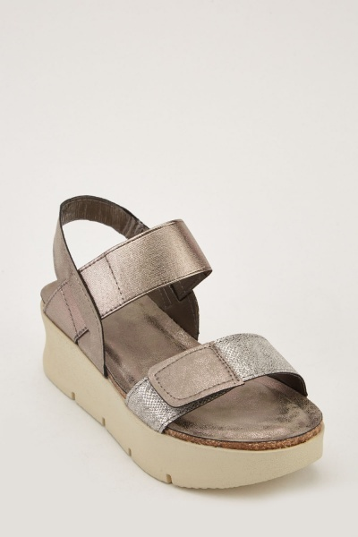 Chunky Heel Metallic Sandals