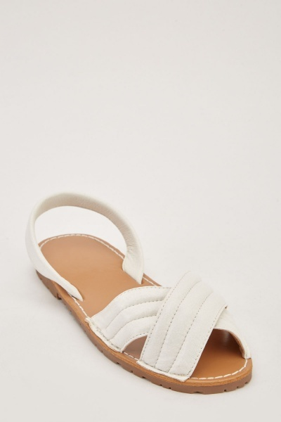 Cross Faux Leather Sandals