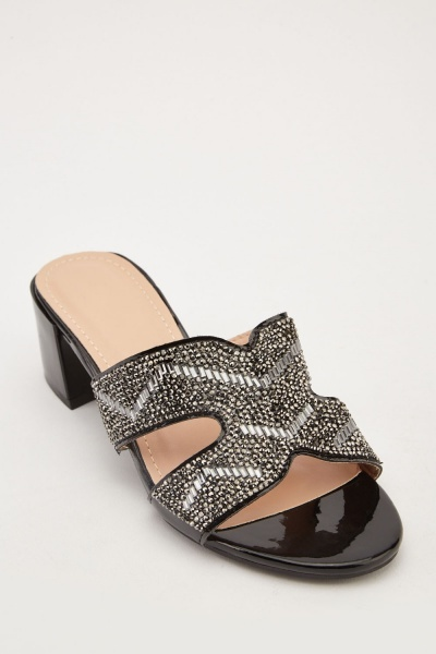 Encrusted Low Heel Mules