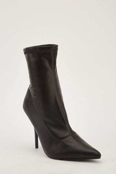 Faux Leather Stitched Heeled Boots