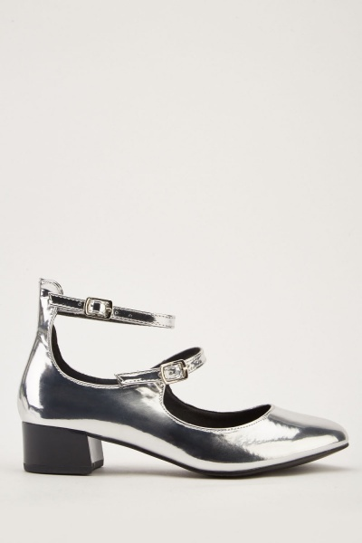 Metallic Buckled Mary-Jane Shoes