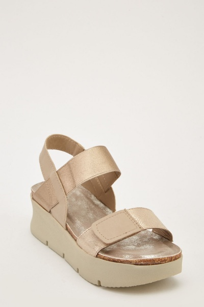 Metallic Strap Wedge Sandals